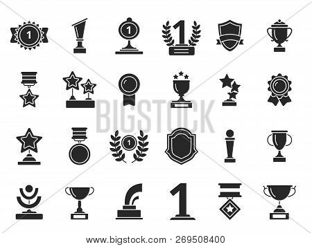 Winners Trophies Icons. Cups Awards Medals With Ribbons Vector Black Silhouettes Isolated. Illustrat