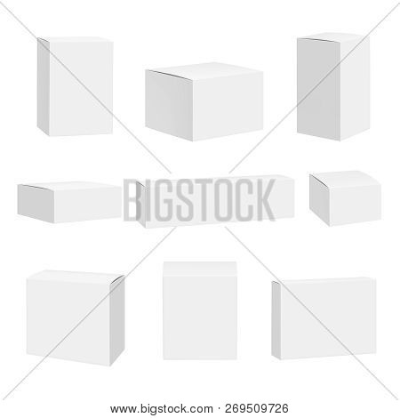 Blank White Box. Packages Container Quadrate Boxes Detailed Realistic Vector Mockup. Package Mockup,