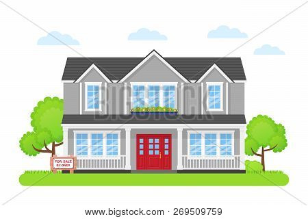 House For Sale. Vector. Home Building Exterior With Wooden Board Sale Sign. Advertising Banner Retai