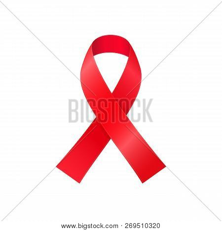 Red awareness ribbon isolated on white background - symbol of HIV and Cancer solidarity campaigns. Worldwide sign of World AIDS Day poster