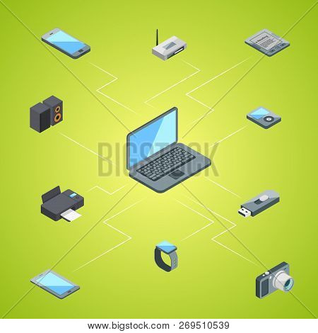 Vector Isometric Gadgets Icons Infographic Concept Illustration. Gadget Device Electronic, Internet
