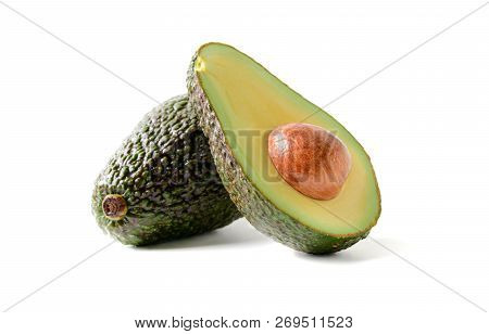 Fresh Avocado. Sliced Avocado Fruit Isolated On White