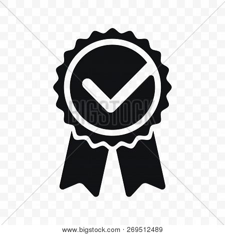 Quality Check Ribbon Icon. Vector Product Certified Or Best Choice Recommended Award And Warranty Ch