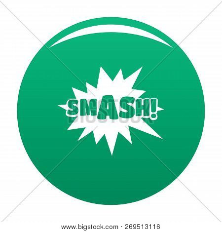 Comic Boom Smash Icon. Simple Illustration Of Comic Boom Smash Vector Icon For Any Design Green