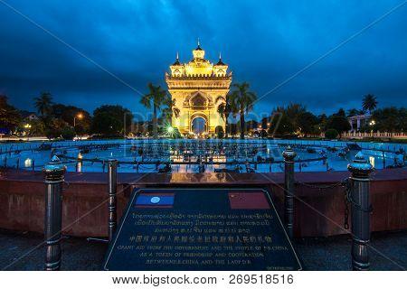 Patuxai Victory Gate, Vientiane / Laos - August 5, 2017 : Patuxay Or Patuxai In Nighttime, War Monum