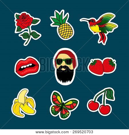 Fashion Patch Badges With Lipst, Beard Man, Cherry, Birds, Banana, Rose, Strawberry. Very Large Set