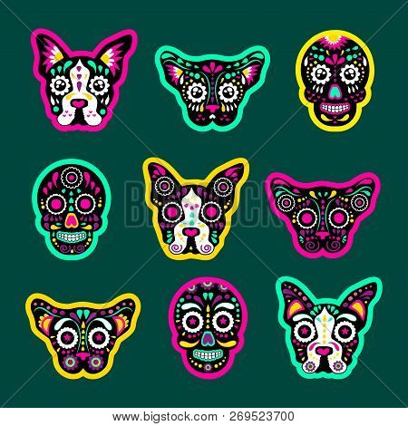 Fashion Patch Badges With Dogs, Bulldog, Skulls, Calavera, And Other. Very Large Set Of Girlish And