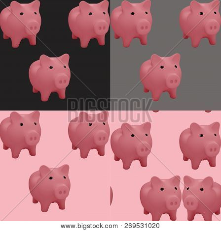 Pink Pigs On Color Trendy Background. 3d Symbol Of 2019. The Pattern Can Be Used  For Fabric Or Wrap