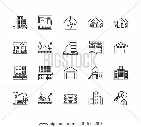 Real Estate Flat Line Icons Set. House Sale, Commercial Building, Country Home Area, Skyscraper, Mal