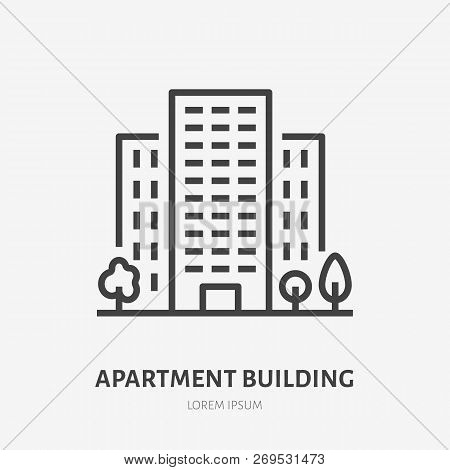 Apartment Building Flat Line Icon. Vector Thin Sign Of Multi-storey House, Condo Rent Logo. Real Est