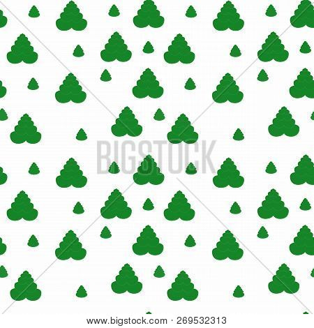 Seamless Pattern With Green Fir-trees. Raster Illustration.simple Cartoon Flat Style. The Best Cloth