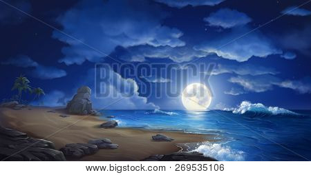 The Moon Night And Sea. Fiction. Concept Art. Realistic Illustration. Video Game Digital Cg Artwork.