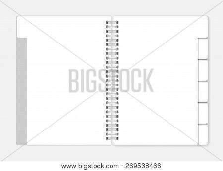 White Blank Notebook With Tab Dividers, Vector Mockup. Open Spiral Clear Notepad With Bookmarks Temp
