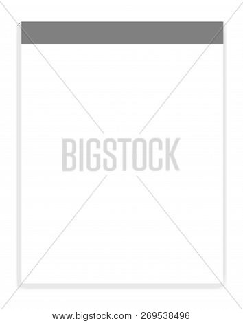 White Blank Letter Size Writing Pad, Realistic Vector Mock Up. Empty Sticky Notes Mockup. Paper Bloc