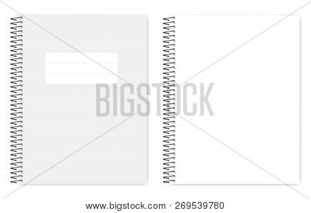 Empty Blank Wire Bound Notebook With Metal Spiral, Realistic Vector Mock Up. Letter Size Copybook, T