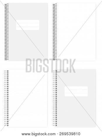 Blank Wire Bound Notebook: Clear Page And Cover, Realistic Vector Mockup. A4 Size Notepad With Diffe