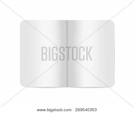 Open White Blank Softcover Notebook Or Brochure, Vector Mockup. Paperback Notepad Spread, Template