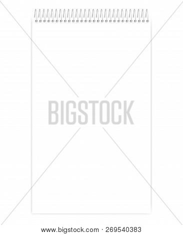 Top Spiral White Blank Notebook, Vector Mockup. Empty Wire Bound Legal Size Notepad, Mock Up