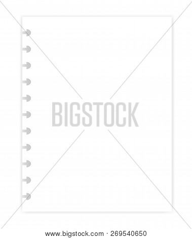 Hole Punched White Blank Filler Paper Sheet For Disc Binder, Vector Mock Up. Empty Letter Size Writi