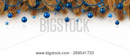 Christmas And New Year Banner With Fir Branches And Blue Christm