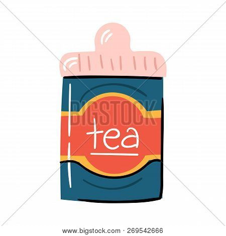 Vector Illustration With Trendy Cartoon Isolated Tea Metal Tea Box. Drink Or Teatime Icon. Packaging