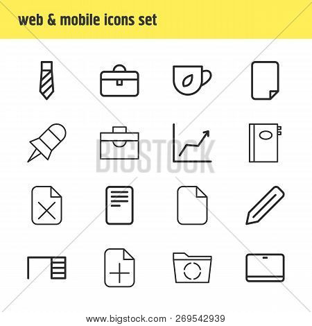 illustration of 16 bureau icons line style. Editable set of add, pin, desk and other icon elements. poster