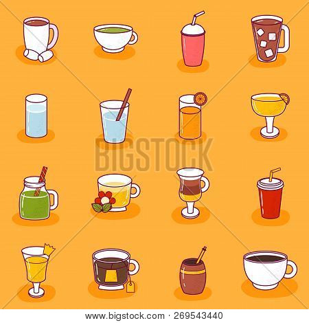 Vector Illustration With Cartoon Non-alcoholic Beverages Icon. Glasses With Cartoon Drinks: Water, T
