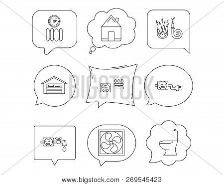 Ventilation Garage And Heat Radiator Icons Gas Water Electricity Counter Linear Signs