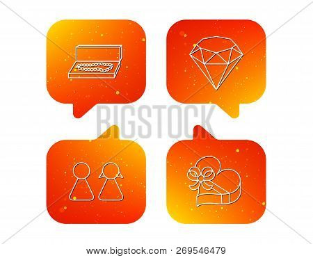 Brilliant, Gift Box And Couple Icons. Box With Jewelry Linear Sign. Orange Speech Bubbles With Icons