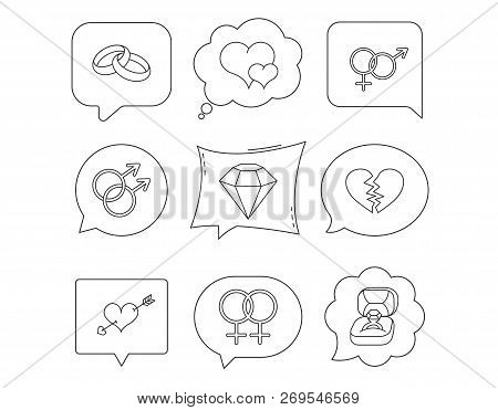 Love Heart, Gift Box And Wedding Ring Icons. Broken Heart And Engagement Brilliant Linear Signs. Val