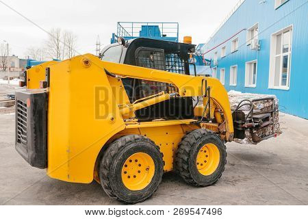 Forklift Truck. Waste Processing Plant. Technological Process. Recycling And Storage Of Waste For Fu