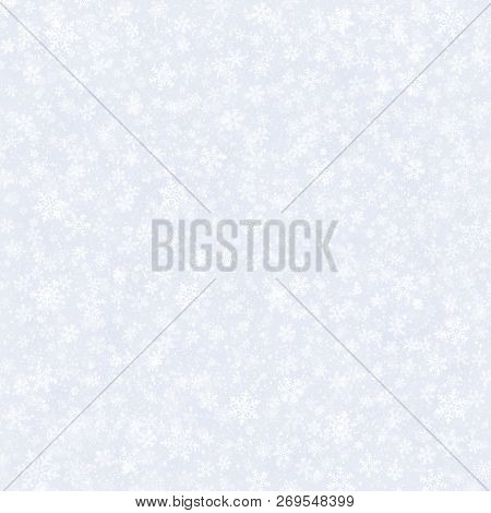 White Snowflakes Shapes And Falling Snow On A Silver Grey Background. Winter Seasonal Material.