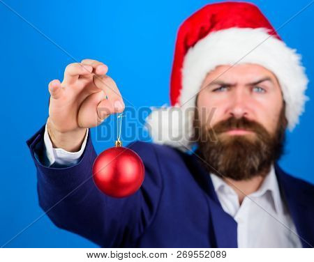 Man Bearded Hipster Wear Formal Suit And Santa Hat. Special Christmas Offer. Santa Hold Christmas Ba