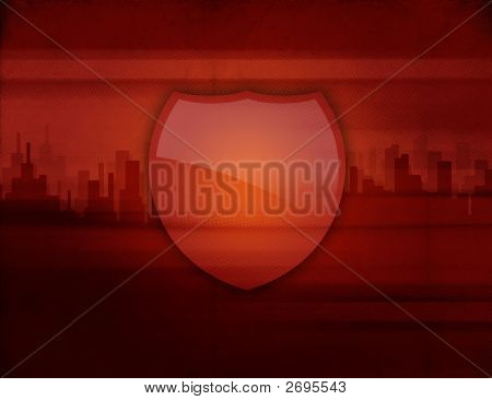 Coat of arms on city skyline background with free space for your individual content. poster