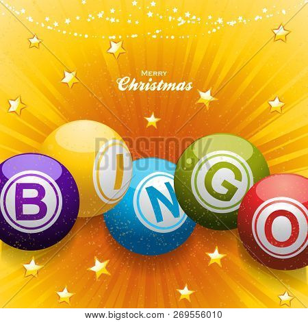 Festive Star Burst Yellow Background With Bingo Balls Decoration Stars And Decorative Text