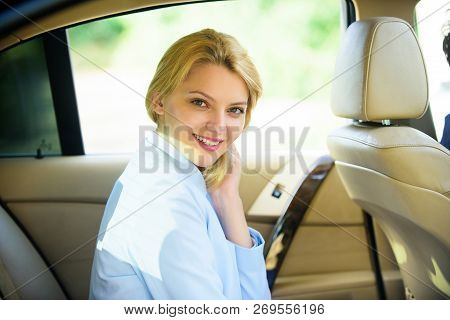 Personal Assistant And Driver. Business Life Concept. Business Woman Sit On Backseat. Busy Lady Pass