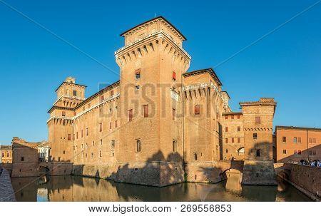 Ferrara,italy - September 23,2018 - View At The Estense Castle Of  Ferrara.ferrara Is A Town And Com