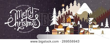 New Year And Christmas Snowy Winter Landscape With Coniferous Forest, Pines, Mountains, Cottages And