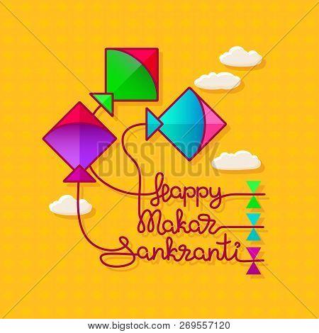 Cartoon Colorful Kites. Macartoon Colorful Kites. Makar Sankranti Harvest Festival Celebration In In