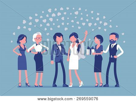 Wedding Ceremony, Newlywed, Guests. Marriage Official Ceremony, Bride And Groom On Traditional Celeb