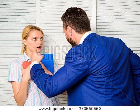 Tense Conversation Or Quarrel Between Colleagues. Boss Discriminate Female Worker. Discrimination An