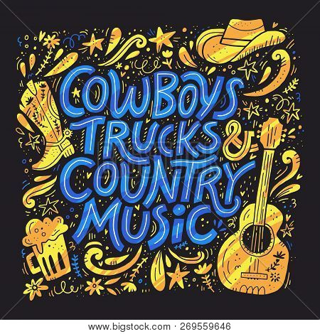 Country Music Festival Retro Poster Vector Template. Hand Drawn Blue Lettering. Cowboy Fest Banner,