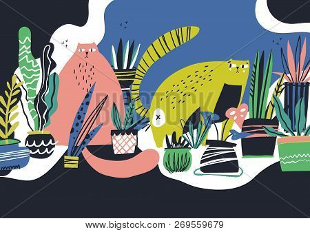 Guilty Cats Flat Hand Drawn Vector Color Illustration. Cute And Playful Kittens With Interior Housep