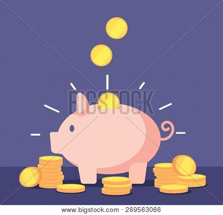 Piggy Bank With Golden Coins. Save Money Deposit Banking And Investment Vector Concept With Money Bo