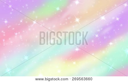 Rainbow Unicorn Background. Mermaid Glittering Galaxy In Pastel Colors With Stars Bokeh. Magic Pink
