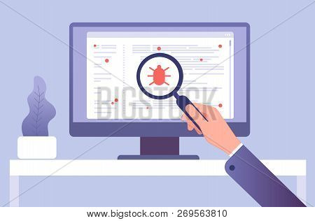 Computer Virus Concept. Hand With Magnifying Glass Testing Software. Bug Virus Icon On Computer Scre