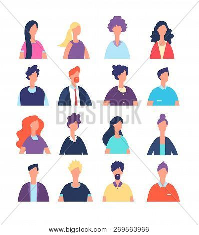 People Avatars. Cartoon Man And Woman Office Worker, Professional Teamwork Portraits. Male And Femal
