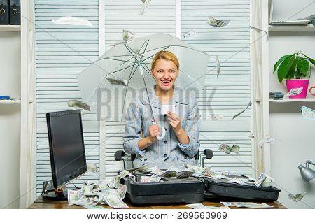 Financial Success. Accountant With Pile Money Hide Under Umbrella. Accountant Enjoy Money Rain. Mone