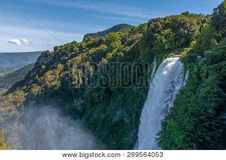 Beautiful View Of The Marmore Waterfalls (cascate Delle Marmore), Umbria, Italy