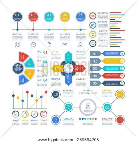 Infographics Diagrams. Infochart Elements, Marketing Chart And Graphs, Bar Diagram. Option Planning